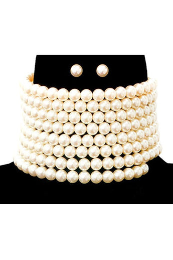 Michelle Ivory Pearl Choker Necklace Set