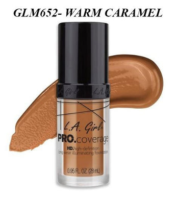 Gia LA GIRL Pro Coverage Illuminating Foundation- GLM652- WARM CARAMEL
