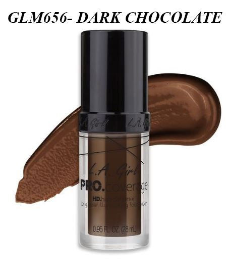 Gia LA GIRL Pro Coverage Illuminating Foundation- GLM656- DARK CHOCOLATE