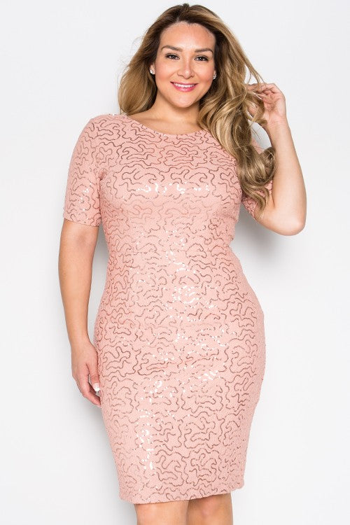 Leslie Blush Shimmer Midi Dress- Plus