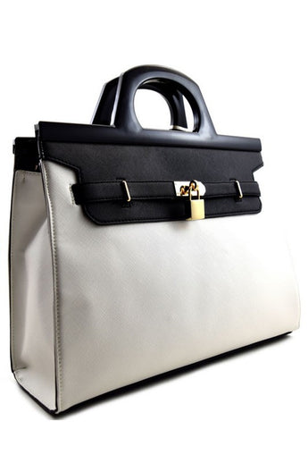 London White/Black Faux-Leather Tote Bag