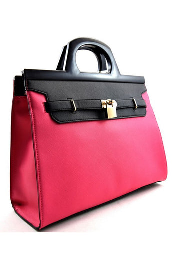 London Fuchsia/Black Faux Leather Tote Bag