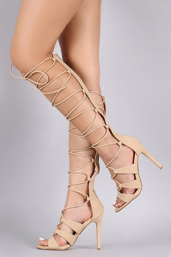 Halle Nude Strappy Tie Up Heels