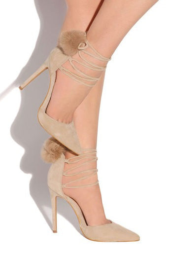 Giselle Nude Faux Suede Material High Heel