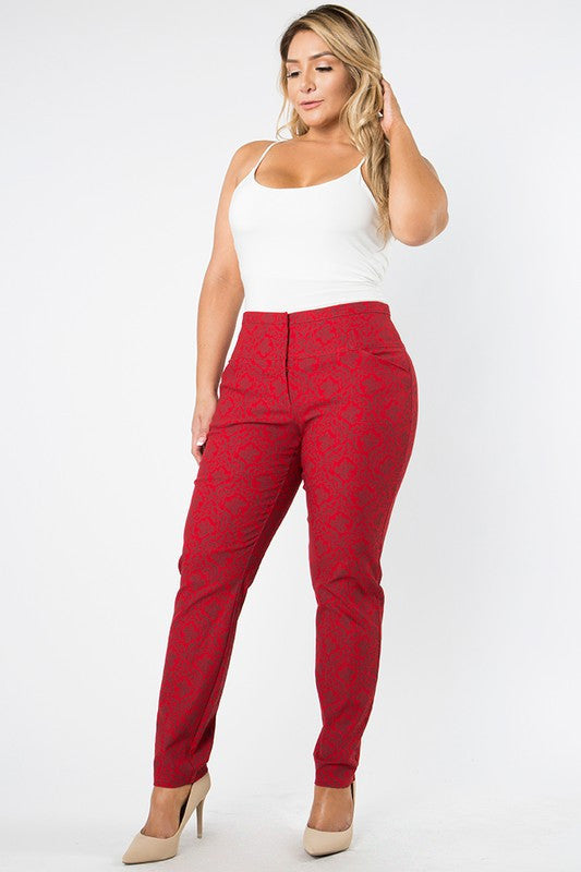 Melissa Burgundy Print Fitted Pants- Plus