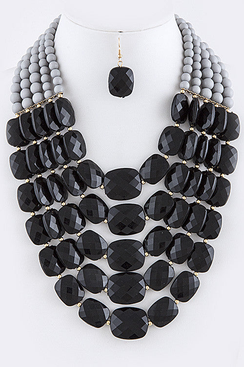 Ariana Gray/Black Faceted Acrylic Jewel Layer Necklace Set