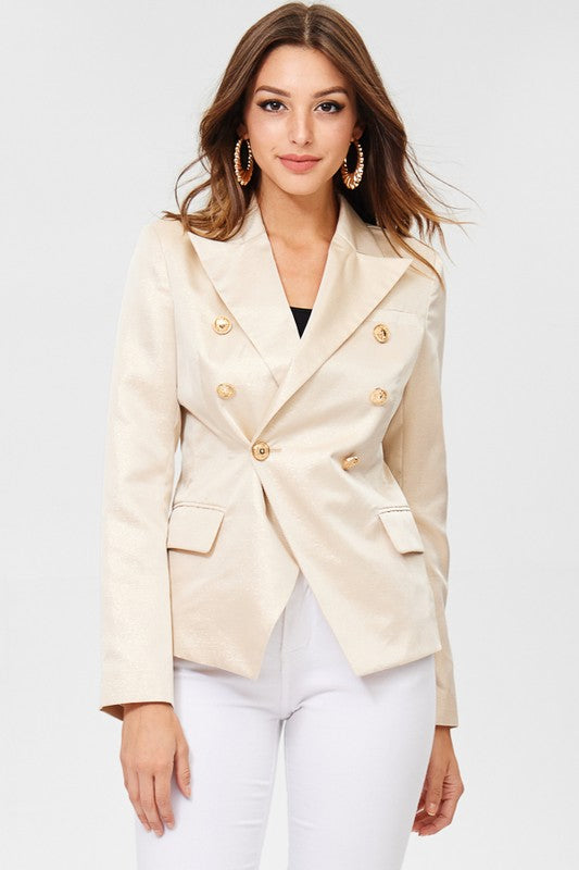 Yasmine Gold Metallic Open Blazer