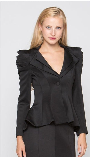 Alissa Black Pleated Shoulders Jacket
