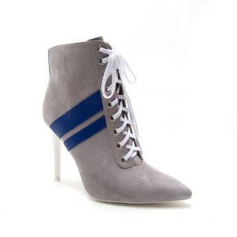 Malia Gray/Blue Striped Color Block Tie Up Booties