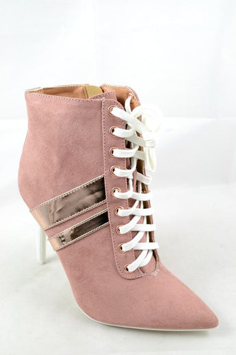 Malia Mauve Stripe Colorblock Tie Up Booties