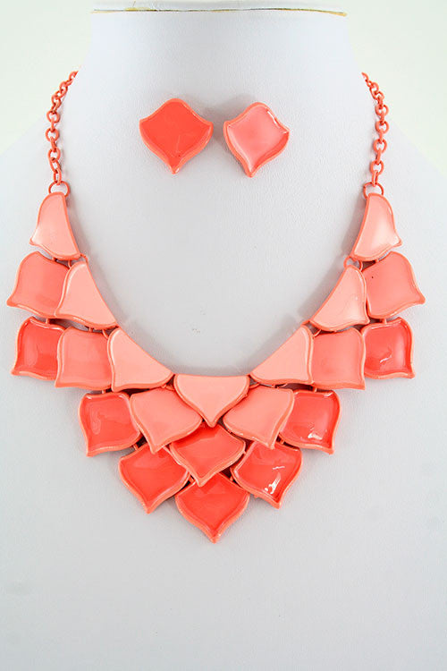Ariana Coral Petal Shaped Necklace Set