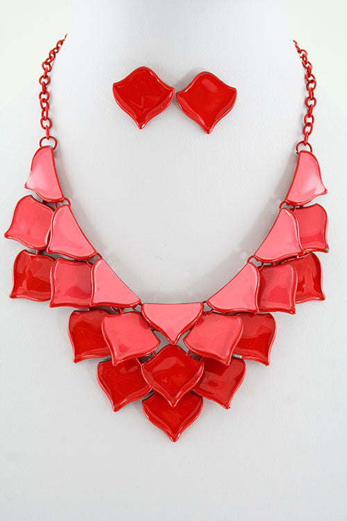 Ariana Red Petal Shaped Necklace and Earrings Set