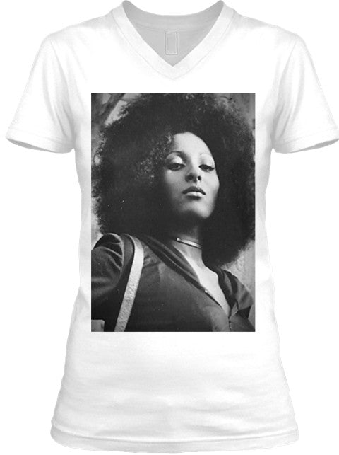 Foxy Brown Pam Grier Fitted Ladies V Neck Tee