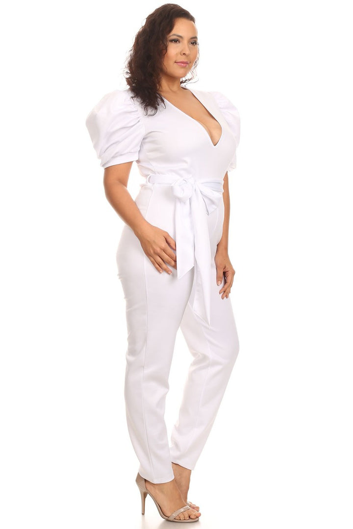 Rachel White Puff Sleeve Body Con Jumpsuit - Plus Size