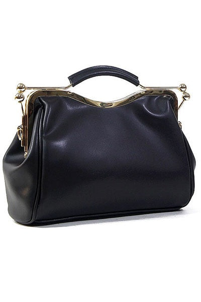 Victoria Black Vegan Leather Handbag