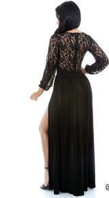 Jalissa Black Lace Top Double Split Maxi Dress
