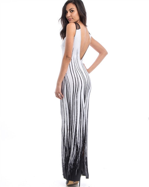 Belle White/Black Abstract Print Mesh Dress