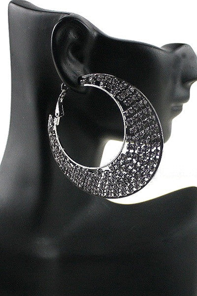 Jordan Hematite Embellished Hoop Earrings