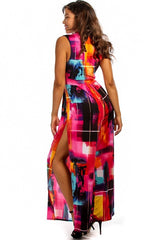 Victoria Red Vibrant Abstract Jumpsuit
