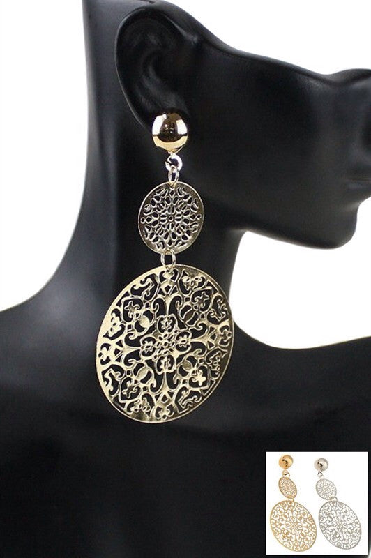 Jasmine Patterned Dangle Earrings