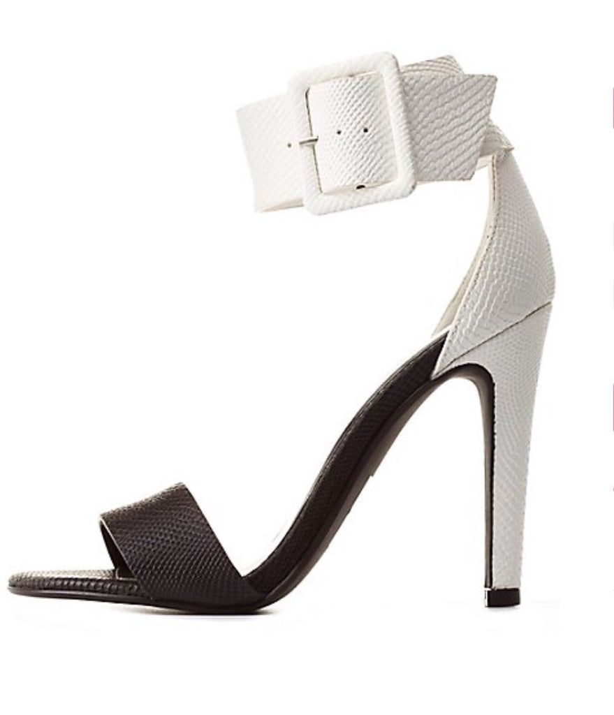 Faith Black and White ColorBlock Sandals