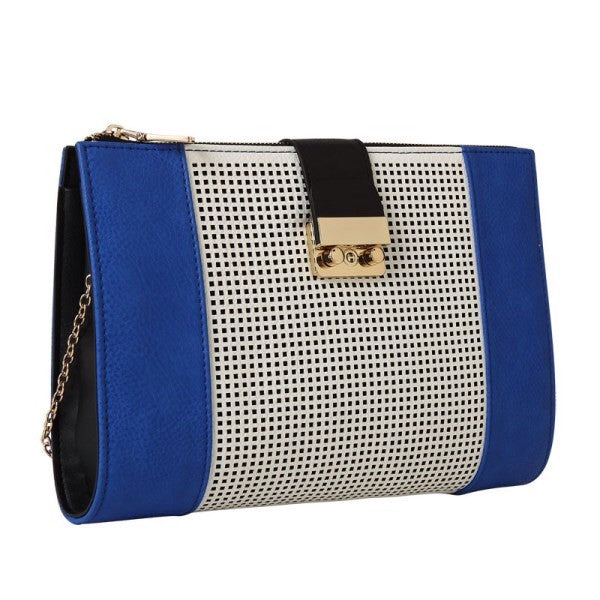 Gabrielle Royal Blue Perforated Oversized Clutch