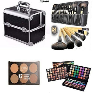 Generic Make Up Box + 24 Set Brush + 6 In 1 Powder Palette And 120 Colour Eyeshadow