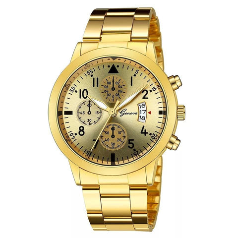 Relojes Hombre Watch Men Fashion Sport Quartz Clock Mens Watches Top Brand - Gold
