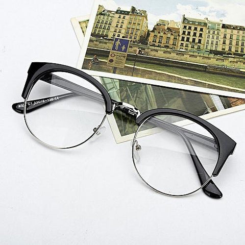 Fashion Unisex Retro Style Round Nerd Glasses Clear Lens Metal Frame