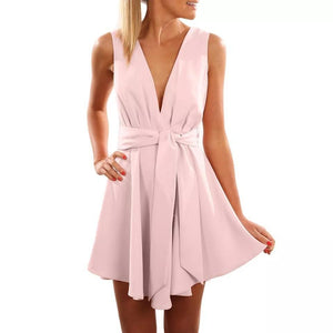 Summer Black Sexy Party Dress Women Vintage V Neck A Line Mini Dresses Woman Party Night Elegant Beach Dress Women Clothes 2019 - Pink