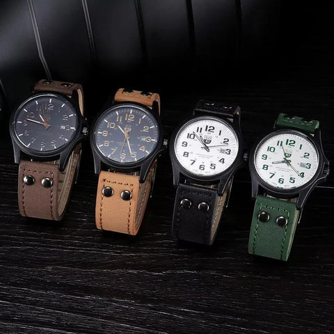 Fashion 2019  Vintage Classic Men's Waterproof Date Leather Strap Sport Quartz Army Watch Wristwatch Clock Gift Retro Design