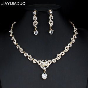 New bridal jewellery set for glamour women wedding dresses accessories zircon necklace earrings set gold color