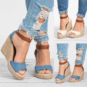 Women Wedge Heel Sandals Casual Comfort Adjustable Buckle Shoes