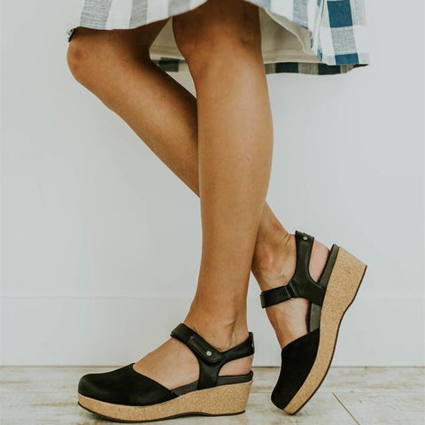 Sweet Buckle Solid Color Wedge Sandals