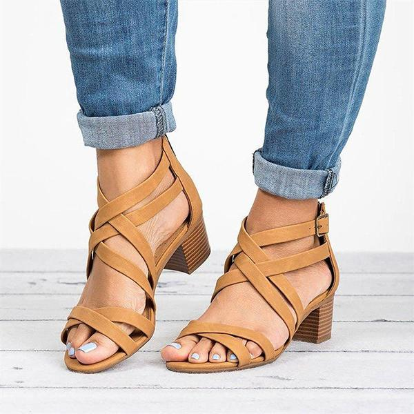 Fashion Middle Heel Zipper Sandals