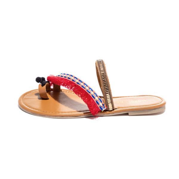 Women's Slippers Flat Heel Vintage Red Sandals