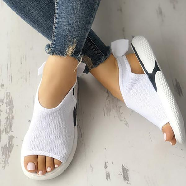 Casual Mesh Fabric Breathable Bowknot Embellished Sandals