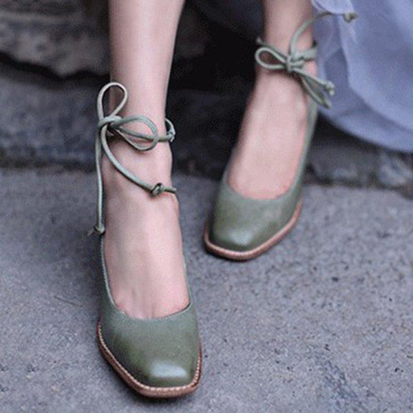 Fashion Retro Straps Square Head High Heels