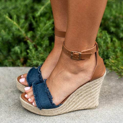 Women Canvas Wedge Sandals Plus Size