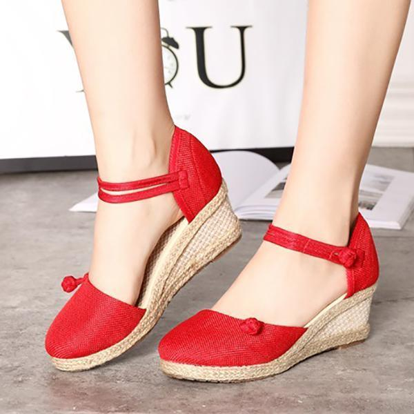 Vintage Embroidered Linen Canvas Wedge Ankle Strap Med Heel Platform Pump Sandals