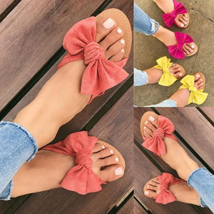 Women Summer Fashion Cute Bow Casual Flats Slippers