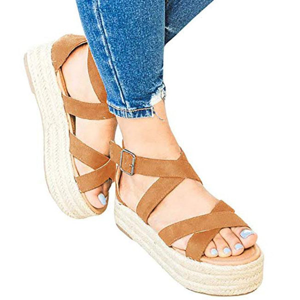 Women's Espadrilles Flatform Sandals Ankle Strap Open Toe Strappy Platform Sandals
