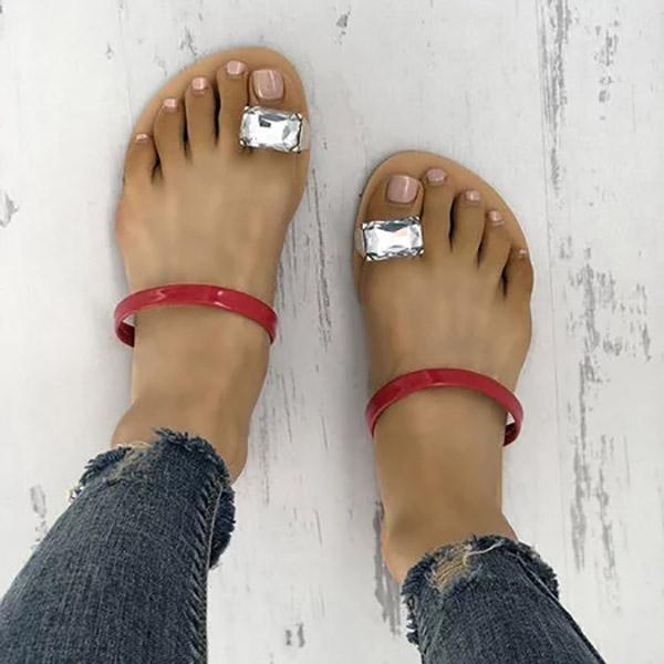 Concise Rhinestones Toe Ring Flat Slippers