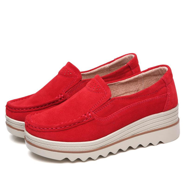 Breathable Suede Round Toe Slip On Platform Shoes