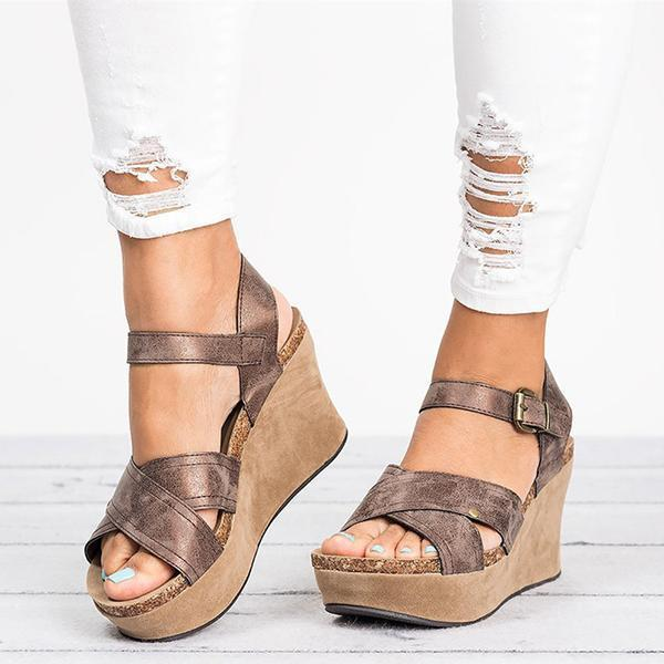 Women Large Size Cross Band Buckle Wedges Sandals
