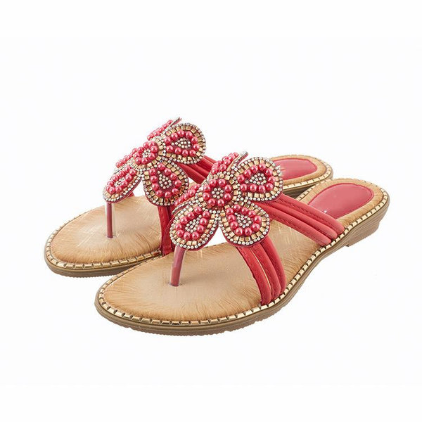 FLOWER PATTERN BEADED DESIGN TOE POST SLIPPERS