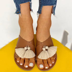 Crisscross Tassel Design Flat Sandals