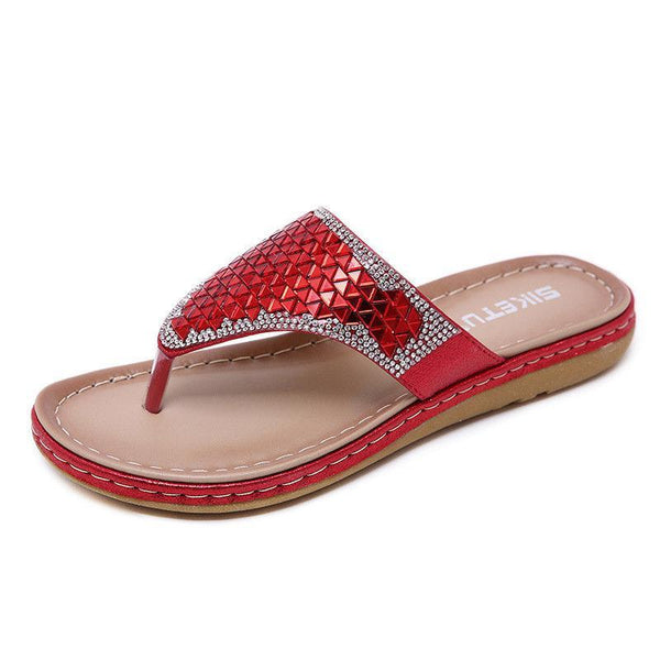 Plus Size Sequins Shiny Peep Toe Antiskid Slippers