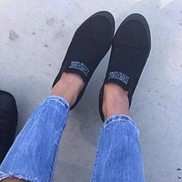Fashion Letter Slip On Wedge Sneakers Faux Suede