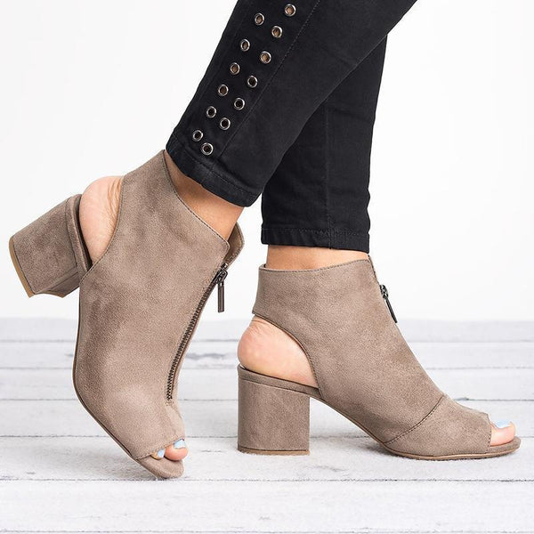 Casual Suede Zipper Pumps Sandals